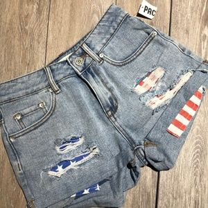 HIGH RISE AMERICAN FLAG PACSUN SHORT SIZE 1